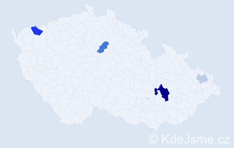Příjmení: 'Hrebeňárová', počet výskytů 7 v celé ČR
