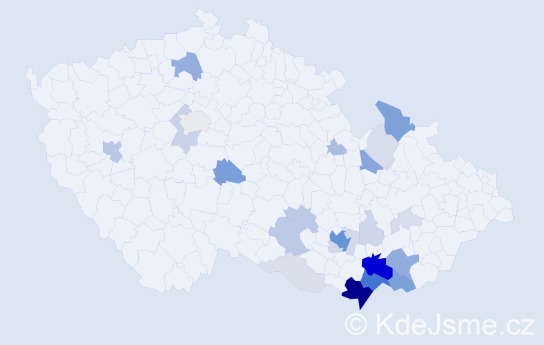 Příjmení: 'Krmíčková', počet výskytů 97 v celé ČR