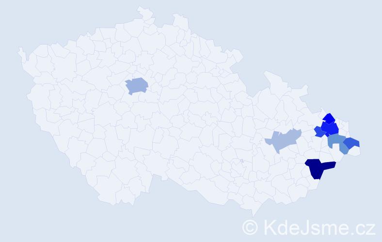 Příjmení: 'Ašer', počet výskytů 28 v celé ČR