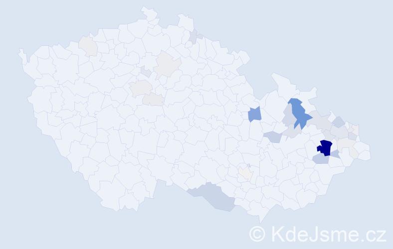 Příjmení: 'Janyška', počet výskytů 118 v celé ČR