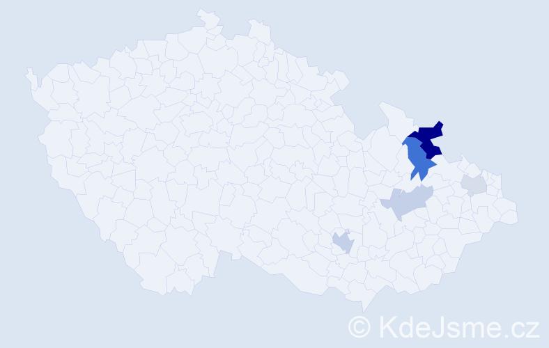 Příjmení: 'Indiková', počet výskytů 10 v celé ČR