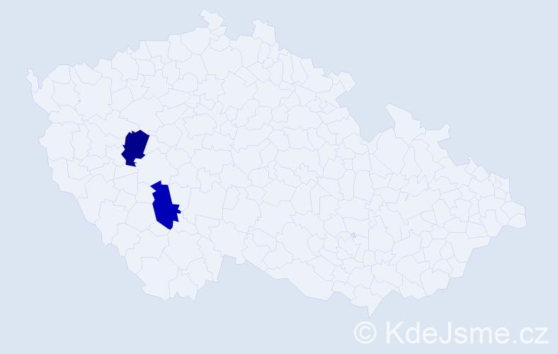 Příjmení: 'Hatanová', počet výskytů 6 v celé ČR
