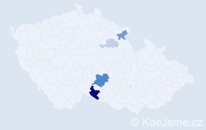Příjmení: 'Lély', počet výskytů 9 v celé ČR
