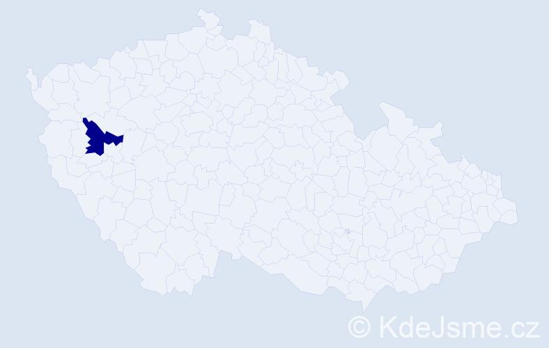 Příjmení: 'Korděnková', počet výskytů 1 v celé ČR