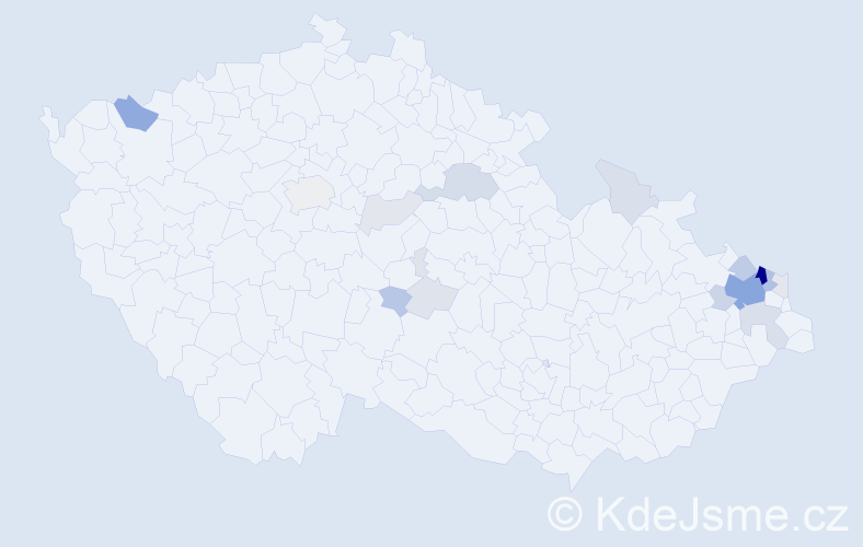 Příjmení: 'Děrgel', počet výskytů 59 v celé ČR