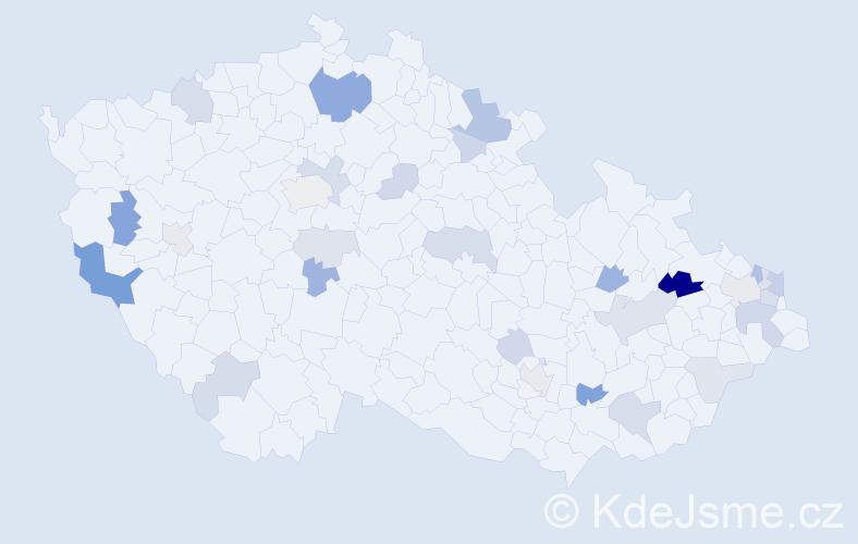 Příjmení: 'Ježo', počet výskytů 65 v celé ČR