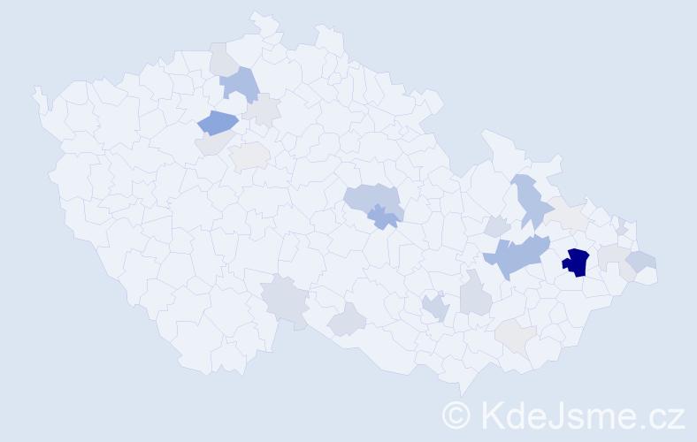 Příjmení: 'Kačo', počet výskytů 125 v celé ČR