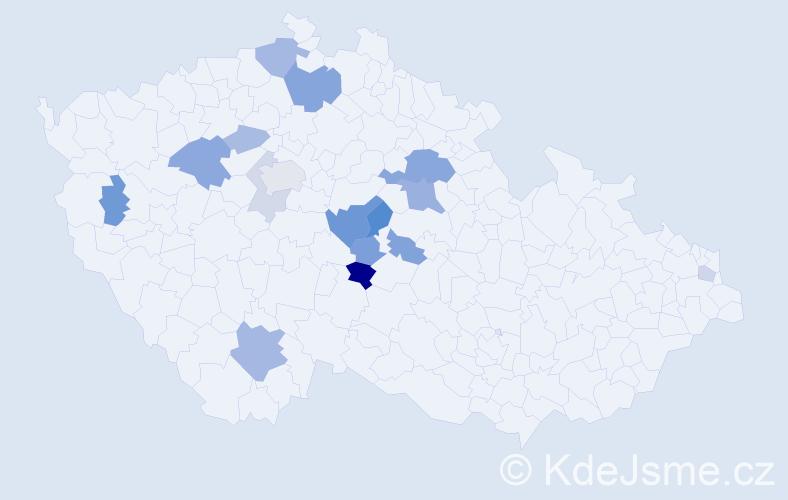 Příjmení: 'Kostinec', počet výskytů 34 v celé ČR