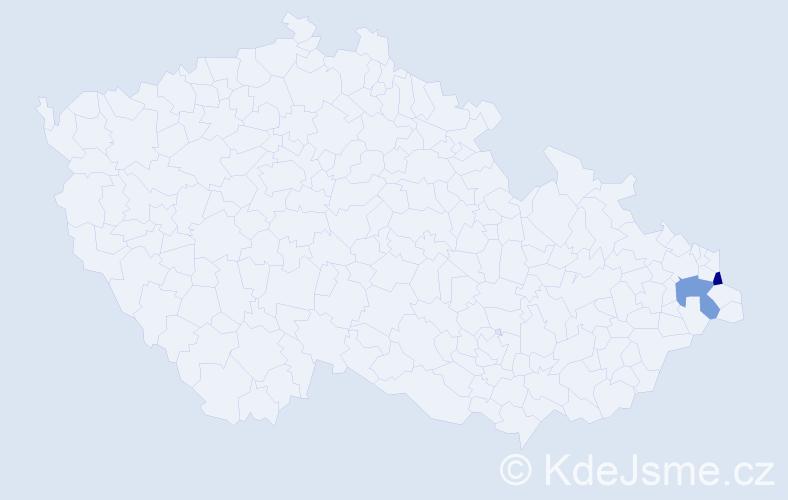 Příjmení: 'Bohdalková', počet výskytů 4 v celé ČR