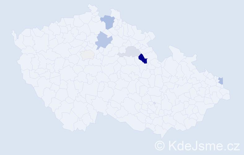 Příjmení: 'Adamčiaková', počet výskytů 14 v celé ČR