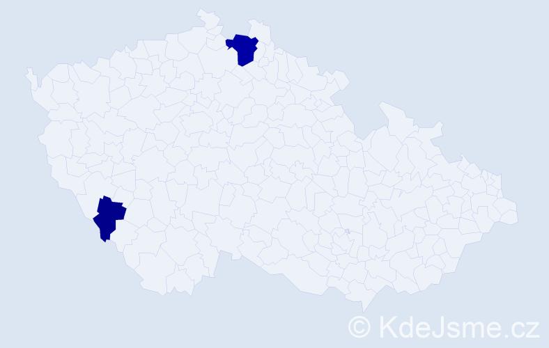 Příjmení: 'Gehart', počet výskytů 5 v celé ČR