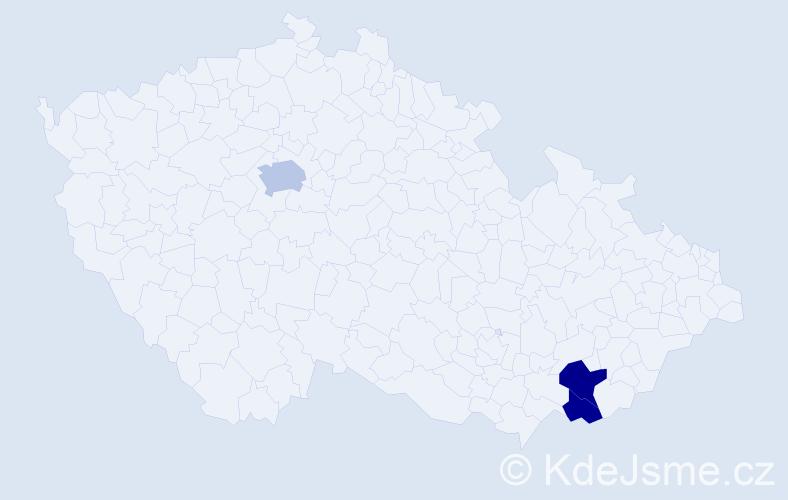 Příjmení: 'Gallia', počet výskytů 5 v celé ČR