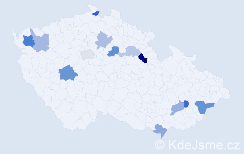 Příjmení: 'Izakovičová', počet výskytů 20 v celé ČR