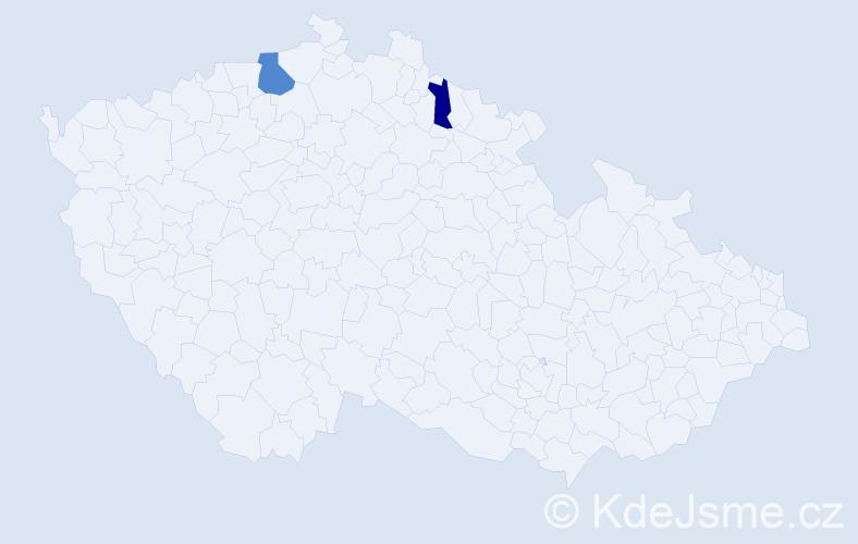 Příjmení: 'Kalafútová', počet výskytů 3 v celé ČR
