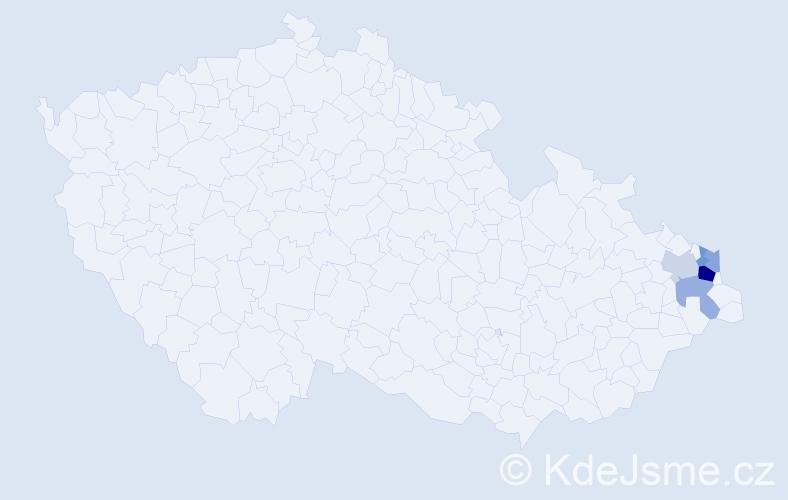 Příjmení: 'Jaglářová', počet výskytů 9 v celé ČR