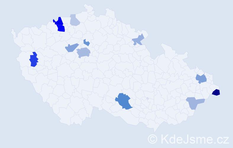 Příjmení: 'Čajkovská', počet výskytů 34 v celé ČR