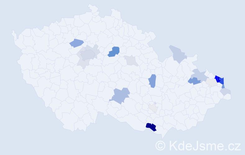 Příjmení: 'Gil', počet výskytů 65 v celé ČR