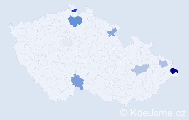 Příjmení: 'Mankovecký', počet výskytů 13 v celé ČR