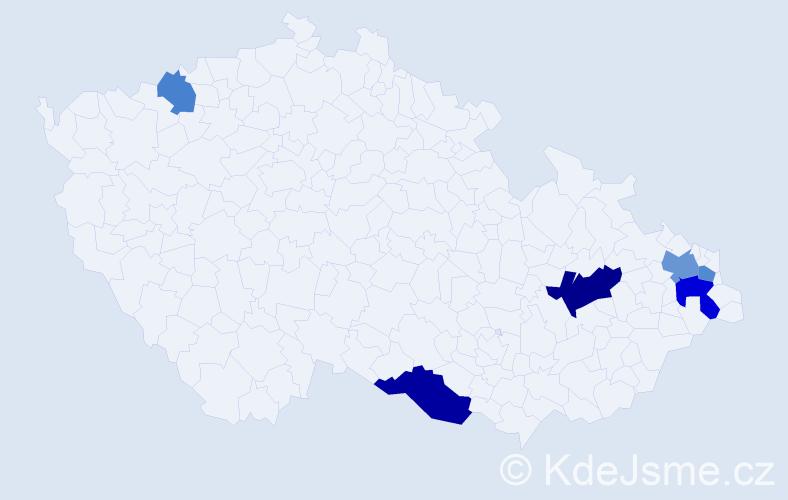 Příjmení: 'Karasek', počet výskytů 11 v celé ČR