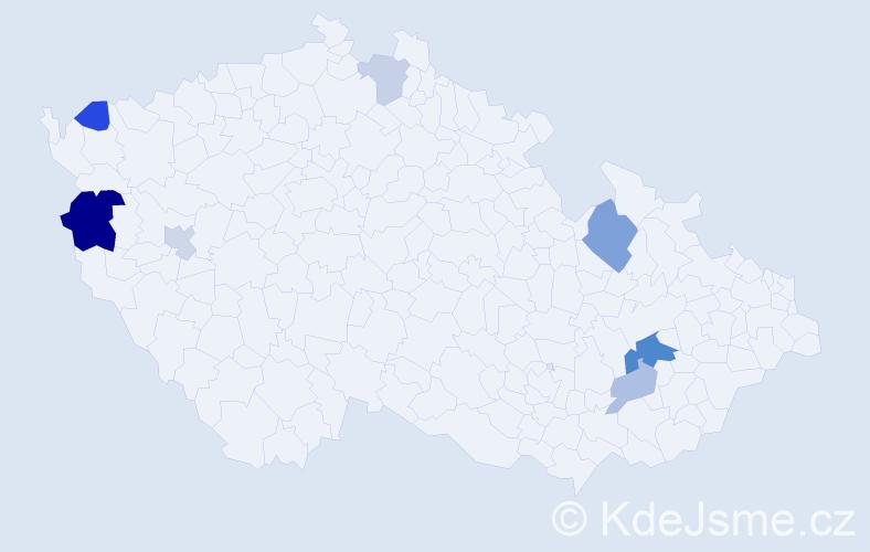 Příjmení: 'Čeč', počet výskytů 14 v celé ČR