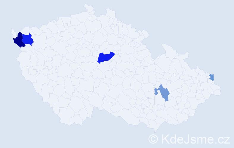 Příjmení: 'Ibolya', počet výskytů 8 v celé ČR
