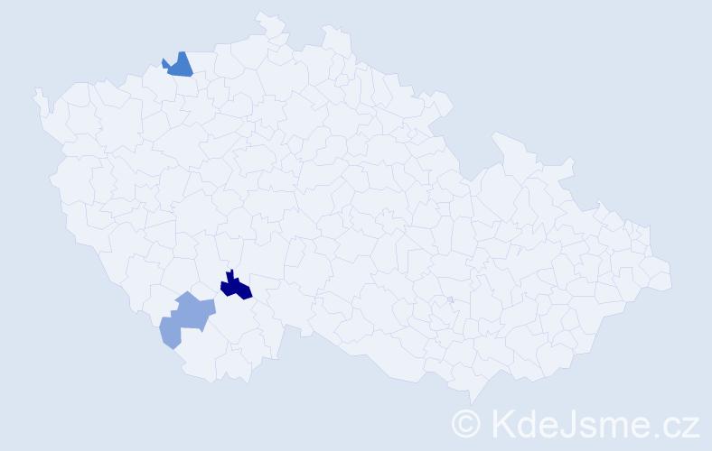 Příjmení: 'Ihnatková', počet výskytů 6 v celé ČR