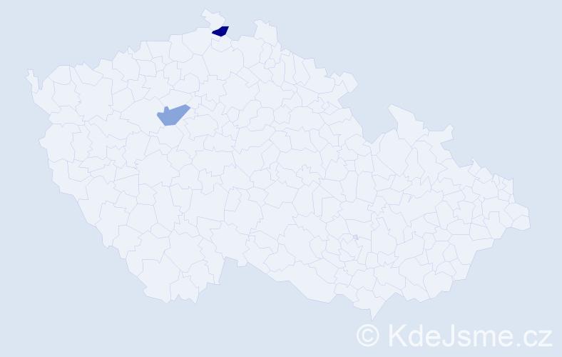 Příjmení: 'Blazius', počet výskytů 2 v celé ČR