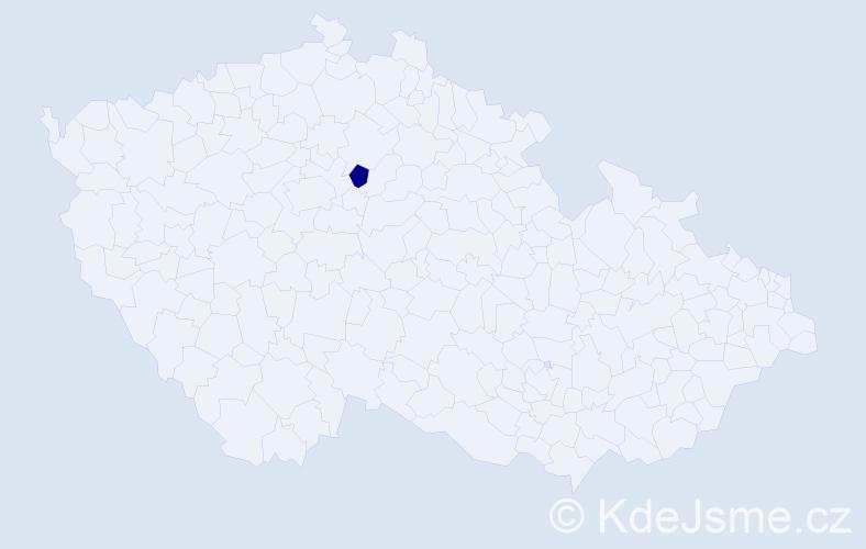 """Příjmení: '""""Čížková Krausová""""', počet výskytů 1 v celé ČR"""