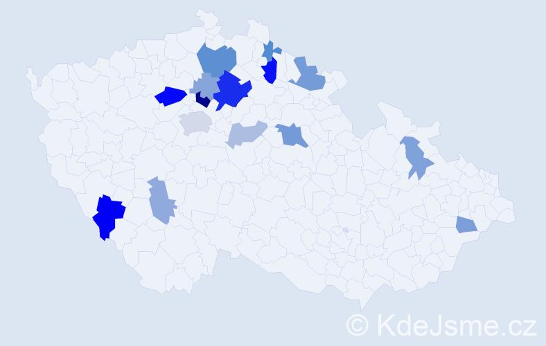 Příjmení: 'Kohoušek', počet výskytů 34 v celé ČR
