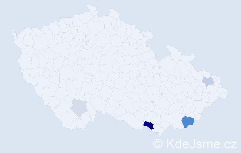 Příjmení: 'Hajdůchová', počet výskytů 11 v celé ČR