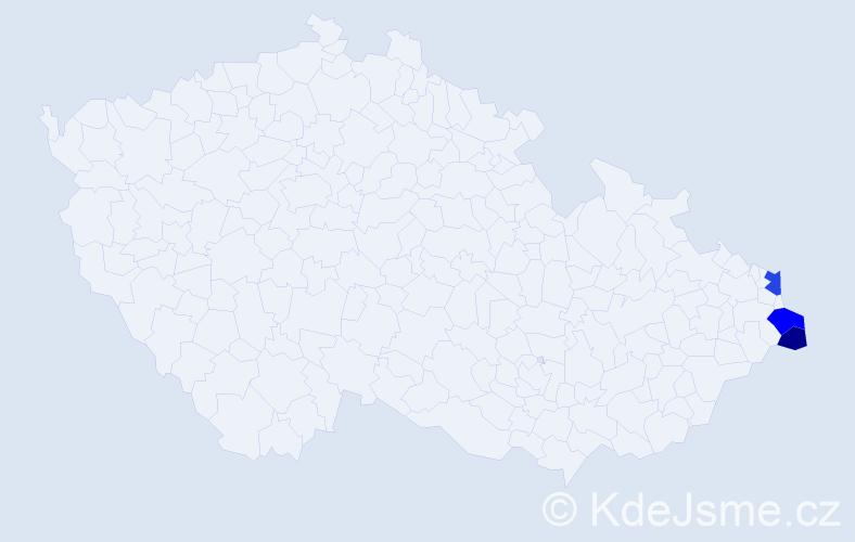 Příjmení: 'Begalčisová', počet výskytů 5 v celé ČR