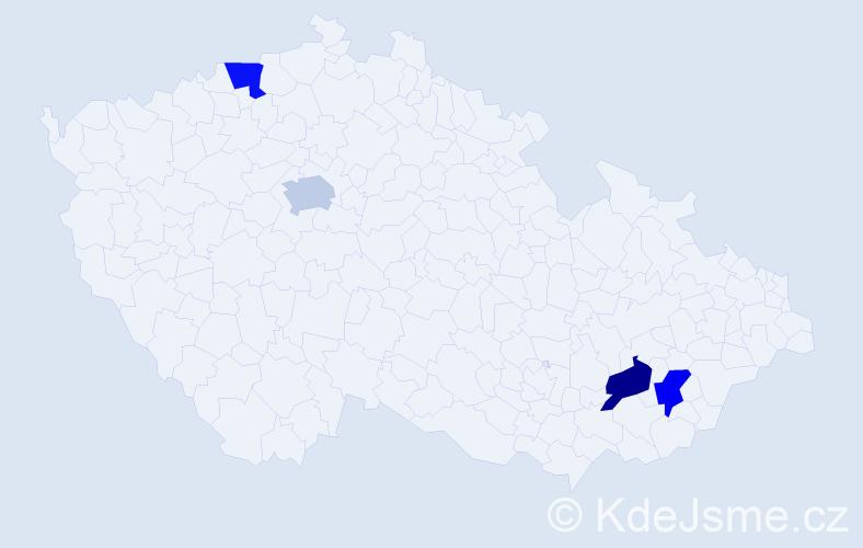 Příjmení: 'Jezný', počet výskytů 4 v celé ČR