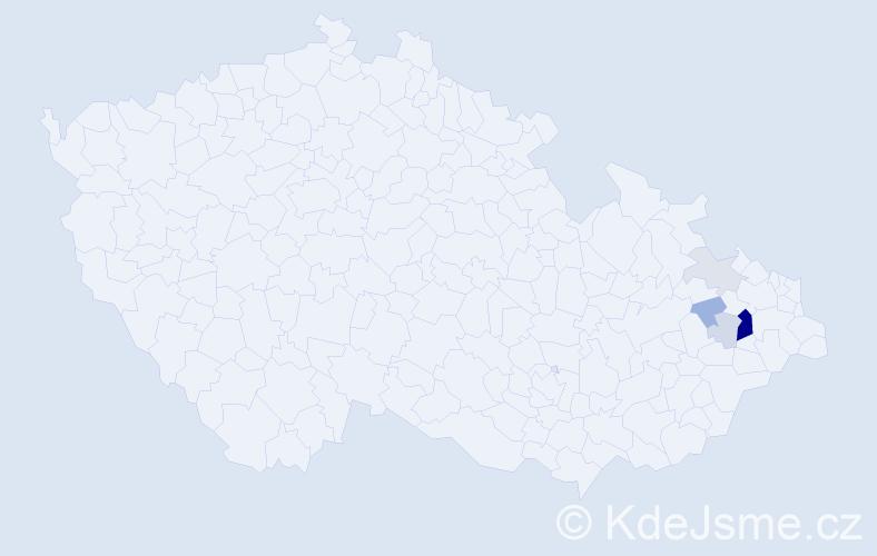 Příjmení: 'Caloň', počet výskytů 17 v celé ČR