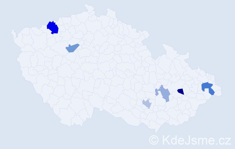 Příjmení: 'Javorčeková', počet výskytů 13 v celé ČR