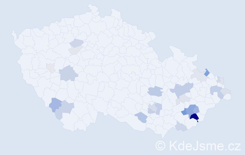 Příjmení: 'Hrošová', počet výskytů 50 v celé ČR