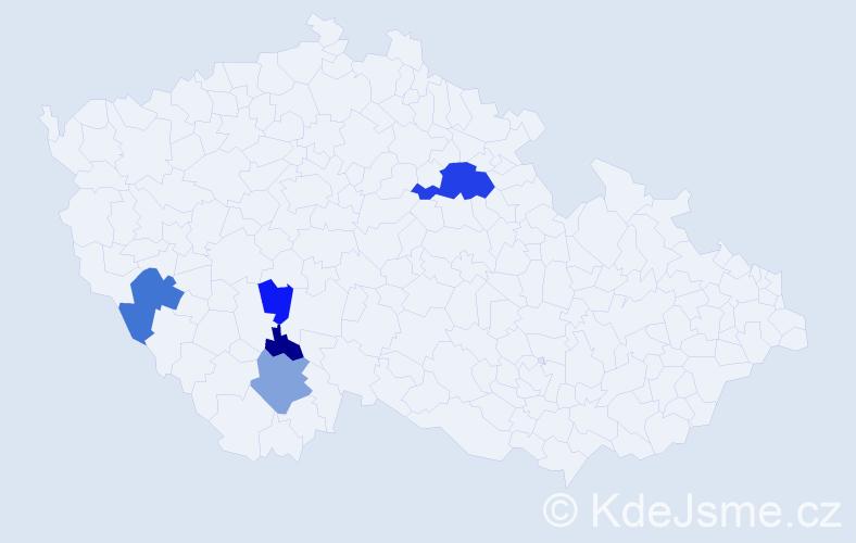 Příjmení: 'Hybšman', počet výskytů 11 v celé ČR
