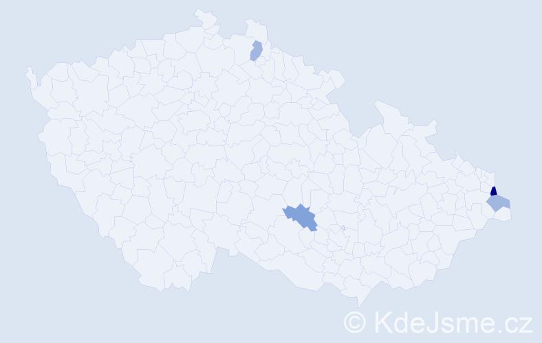 Příjmení: 'Chloňová', počet výskytů 6 v celé ČR