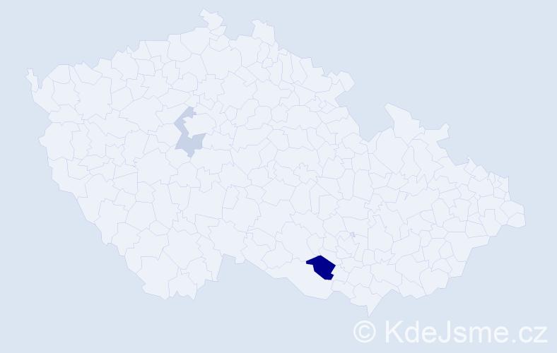 Příjmení: 'Haker', počet výskytů 4 v celé ČR