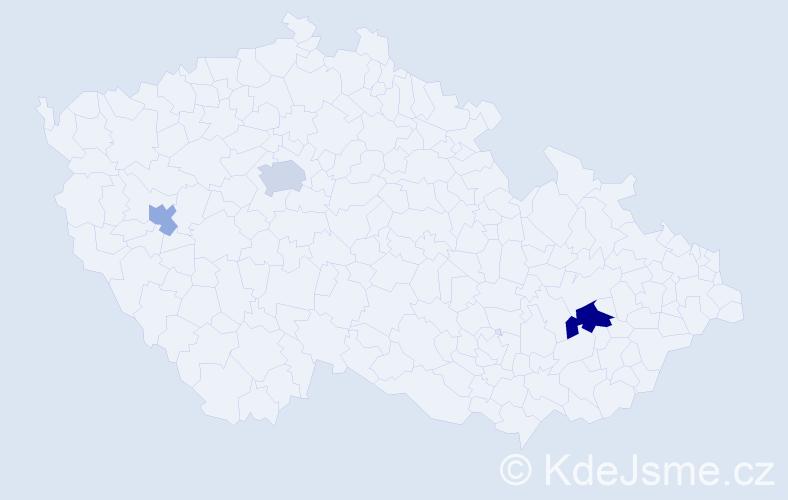 Příjmení: 'Ďurkechová', počet výskytů 6 v celé ČR