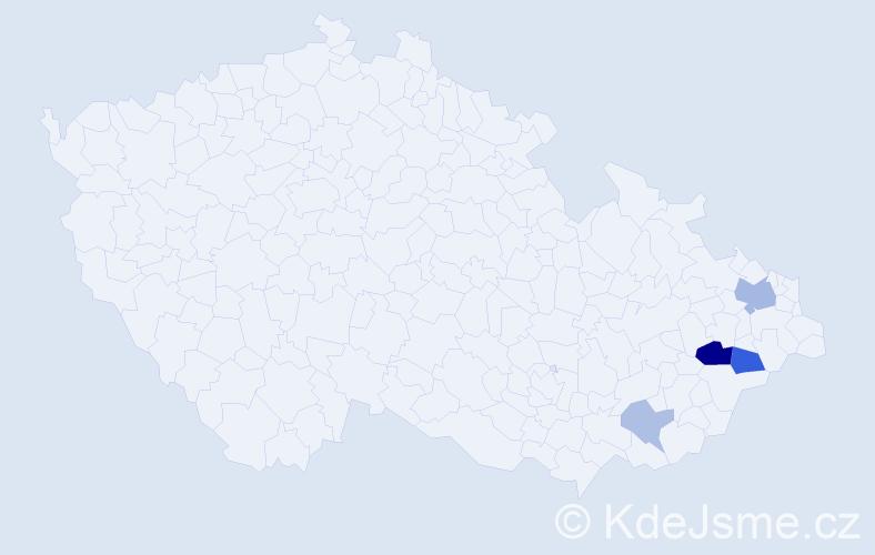 Příjmení: 'Glózová', počet výskytů 10 v celé ČR
