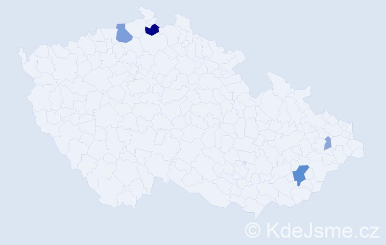 Příjmení: 'Džavík', počet výskytů 11 v celé ČR
