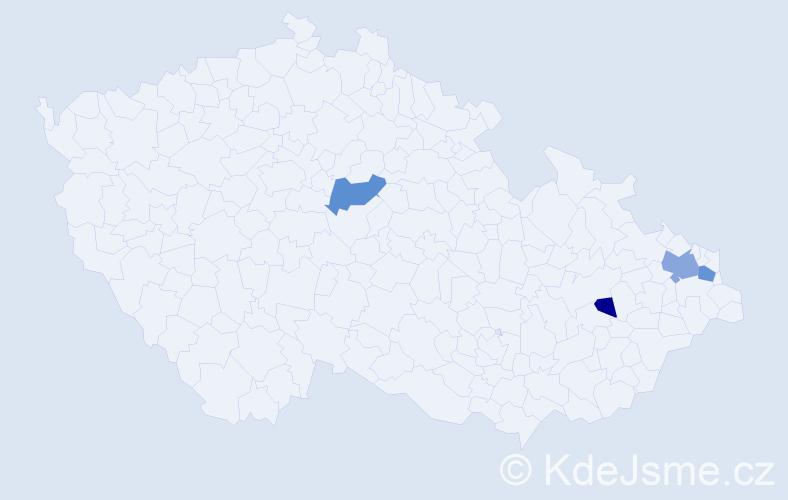 Příjmení: 'Bobčiaková', počet výskytů 8 v celé ČR