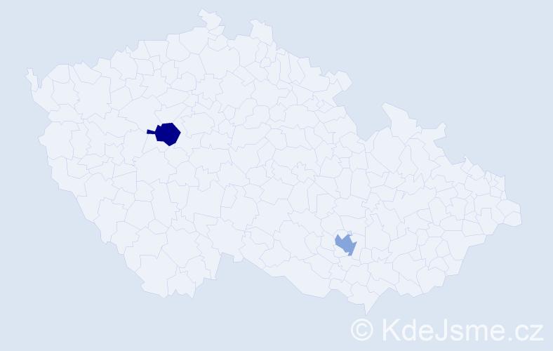 Příjmení: 'Hambardzumyan', počet výskytů 2 v celé ČR