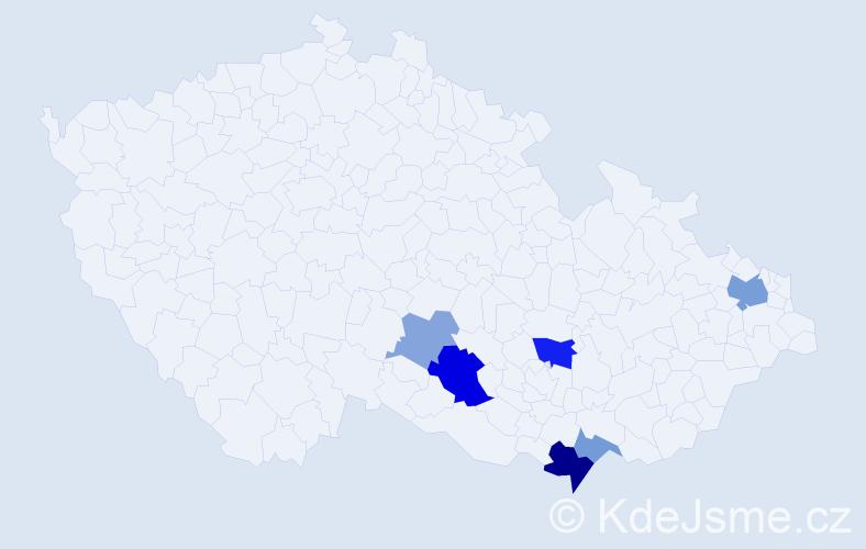 Příjmení: 'Hallangová', počet výskytů 13 v celé ČR