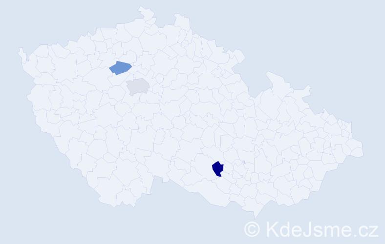 Příjmení: 'Čapliar', počet výskytů 4 v celé ČR