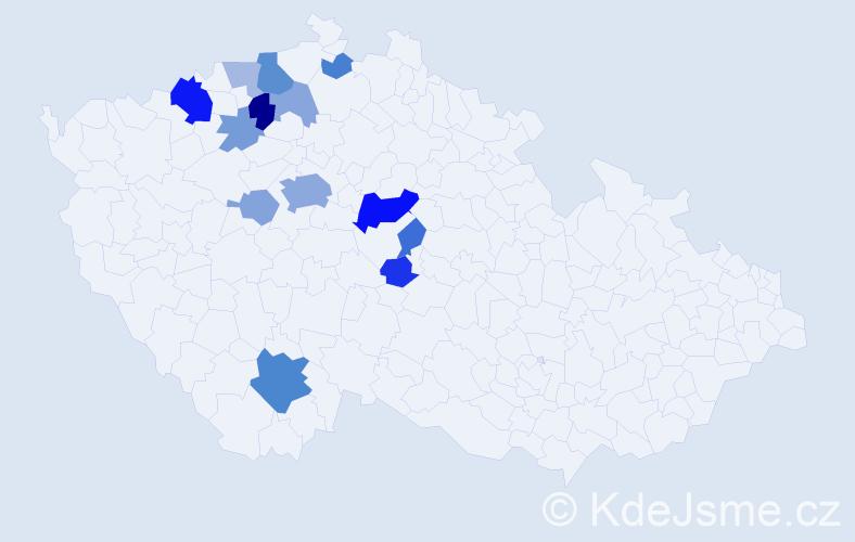 Příjmení: 'Čmejrek', počet výskytů 34 v celé ČR