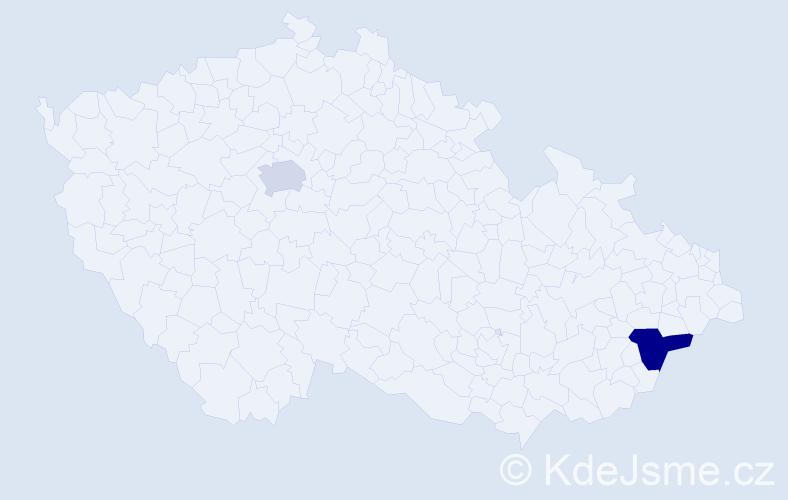 Příjmení: 'Krstevská', počet výskytů 5 v celé ČR