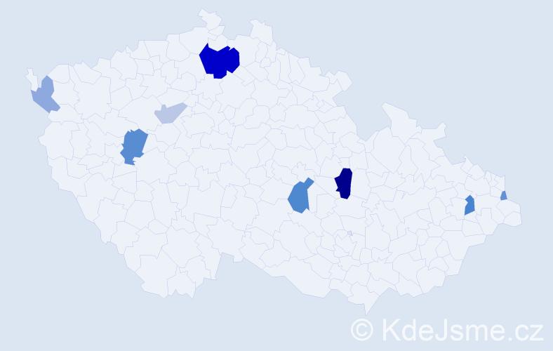 Příjmení: 'Kállaiová', počet výskytů 18 v celé ČR
