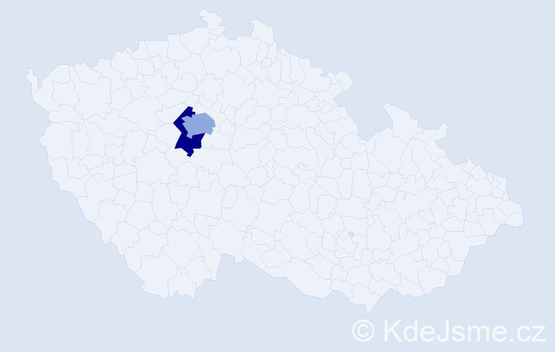 Příjmení: 'Carrera', počet výskytů 5 v celé ČR