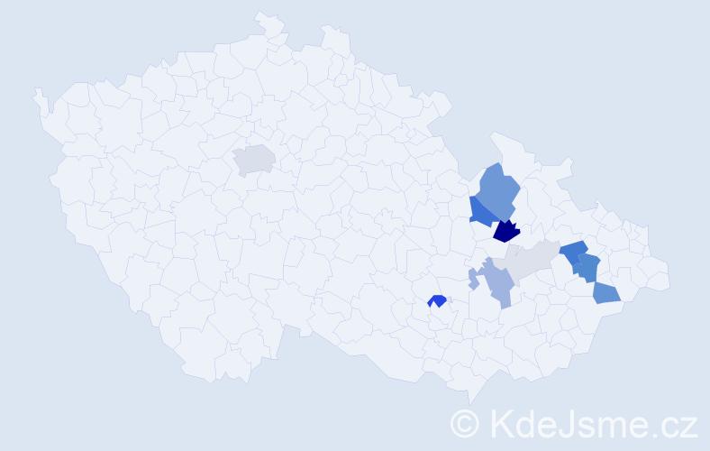 Příjmení: 'Jurčíček', počet výskytů 38 v celé ČR